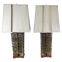 Large Pair of Pagoda Table Lamps Patinated Bronze Wood Original Silk Shades