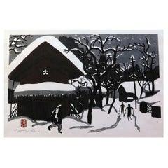 "Kiyoshi Saito Original Woodblock Print, ""Winter in Aizu"" with Skiers, Circa 1960"