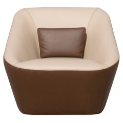 Prince Spencer Armchair with Two-Tone (Beige-Brown) Italian Leather Upholstery