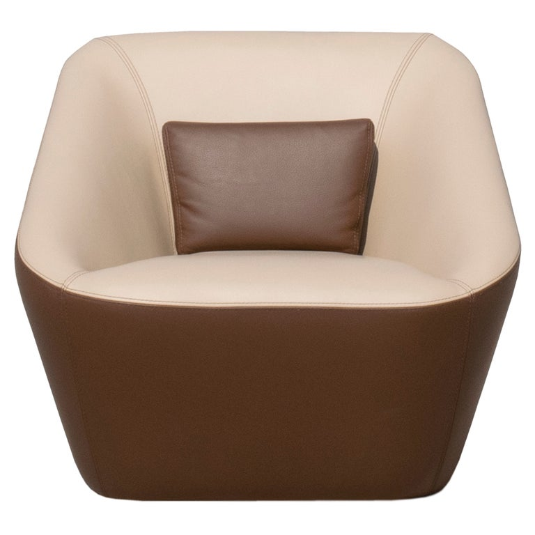 Prince Spencer Armchair with Two-Tone (Beige-Brown) Italian Leather Upholstery For Sale