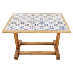 Midcentury Danish Oak Porcelain Tile Top Coffee Table