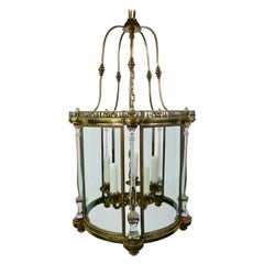 Neo-Classical Style Bronze Lantern with Crystal Columns by E. F. Caldwell