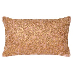 Contemporary Rose Pink Silk Velvet Pillow with Metallic Embroidery
