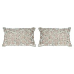 Contemporary Pair of Light Blue Silk Velvet Pillow with Metallic Embroidery