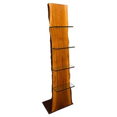 Custom Made Slab Red Oak Stand with Glass Shelves
