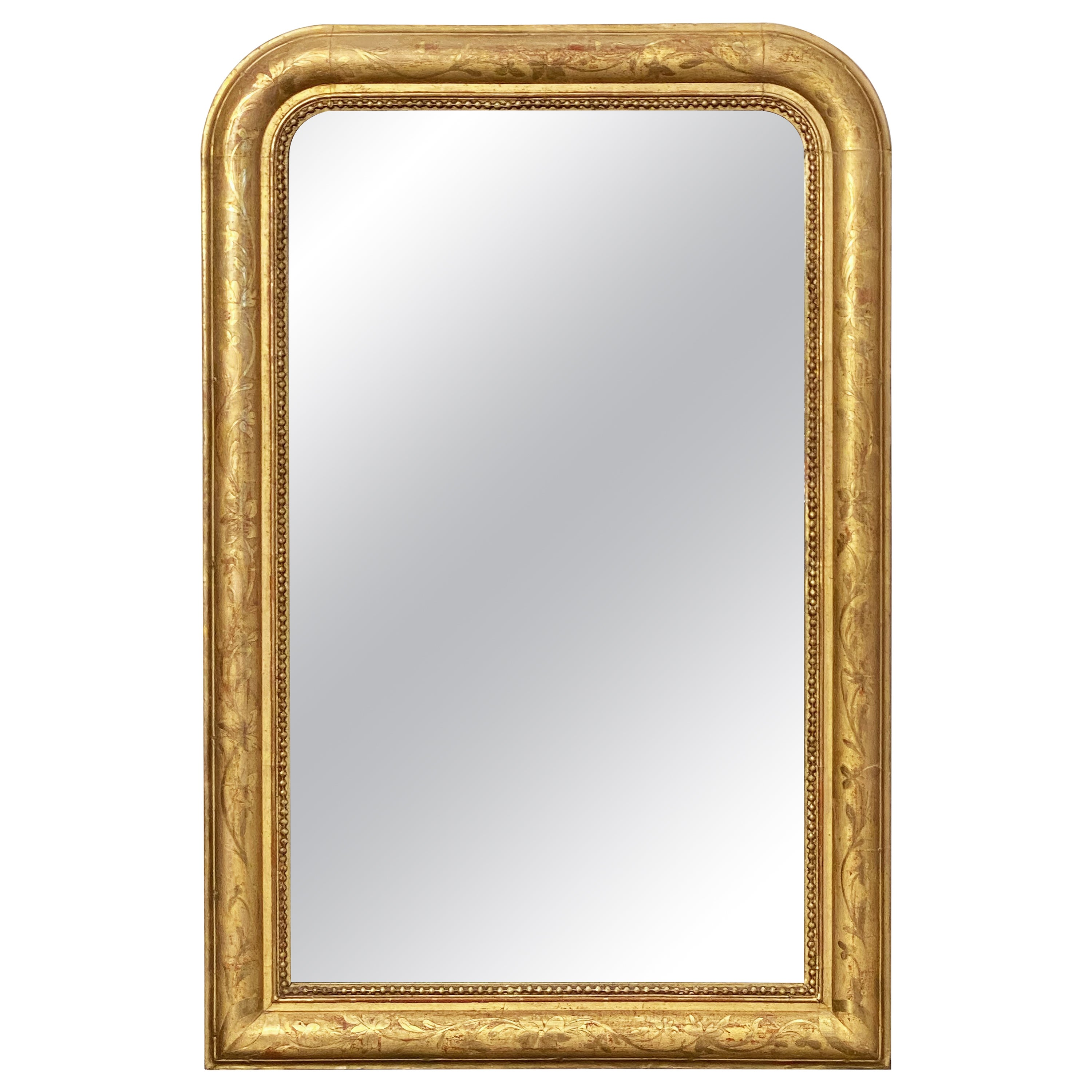 Large Louis Philippe Arch Top Gilt Mirror from France