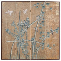 Midcentury Gracie Chinoiserie Style Wallpaper Four Panel Screen
