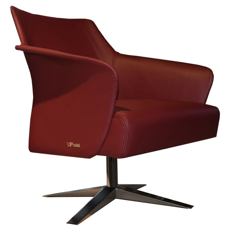 Karl Armchair in Wine Red Italian Leather Upholstery with Glossy Metal Base For Sale
