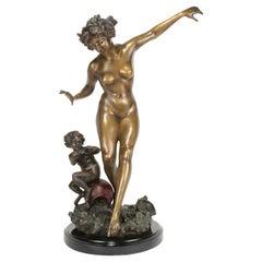 Art Deco/Nouveau Nude Sculpture Bronze with Pixy