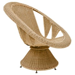Vintage Large Wicker Woven Chair with Incredible Detailing, France, 1970's