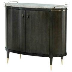 Mid-Century Modern Oval Bar Cabinet