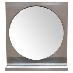 Michel Boyer Mid-Century Modern Brushed Steel Wall Mirror