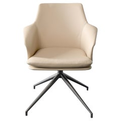 Karl Dining Chair with Beige Italian Leather Upholstery and Grey Metal Base
