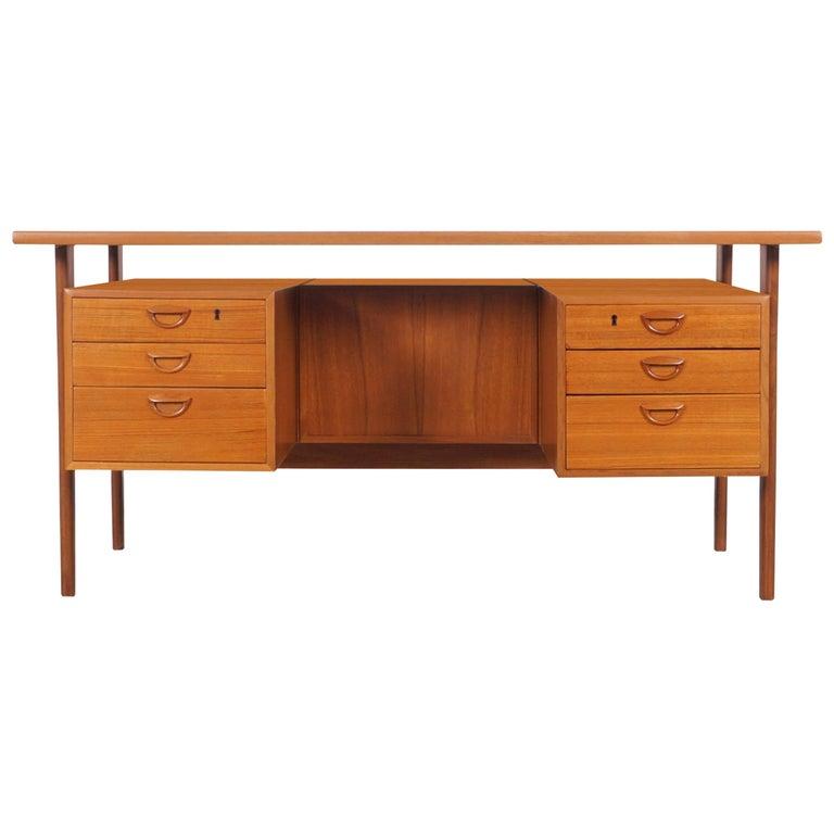 Danish Modern Floating Top Desk by Kai Kristiansen For Sale