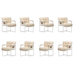 Milo Baughman Set of 8 Chrome Dining Chairs in Ivory Bouclé, c. 1975