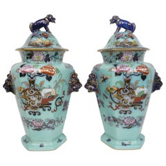 Large Pair of English Ironstone Lidded Vases with Foo Dog Finials