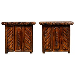 Pair of Exotic Carved End Tables by William Westenhaver for Witco, c 1950