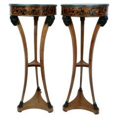Pair Regency Satinwood and Penwork Marble Topped Tripod Form Stands