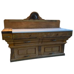 19th Century French Butcher Block Station