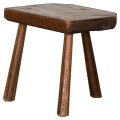 French Rectangular Wood Tripod Stool
