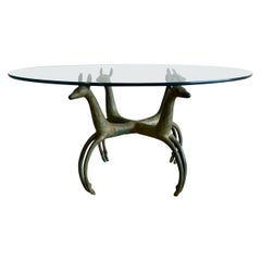 Armand-Albert Rateau Style Bronze Deer Sculptural Cocktail Table Mid Century