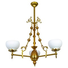 Rare Victorian Copper & Brass Chandelier w/ Glass Shades & Snake Decorations