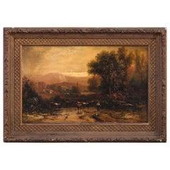 Large Antique Landscape Painting of Pastoral Scene & Cattle, Artist Signed c1890