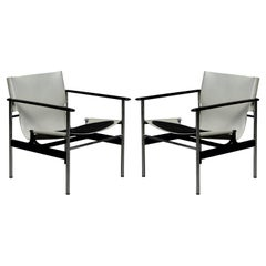 Early Year '657' Armchairs by Charles Pollock for Knoll International, Signed