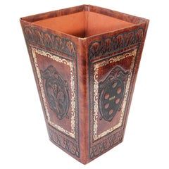 Hand-Tooled Italian Style Square Waste Paper Basket