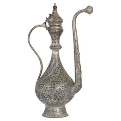 Middle Eastern Islamic Turkish Ottoman Tinned Copper Ewer