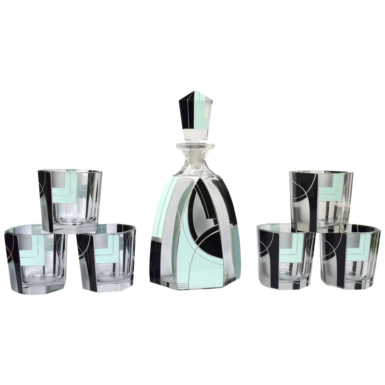 Art Deco Czech Decanter Glass Set, c1930