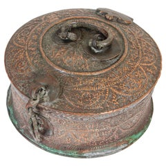 Large Decorative Indian Mughal Round Copper Box with Lid