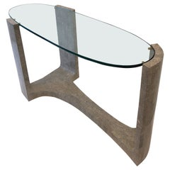 Marble and Glass Sculptural Console Table by Maitland Smith