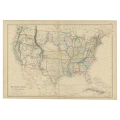 Antique Map of the United States of North America by W. G. Blackie, 1859