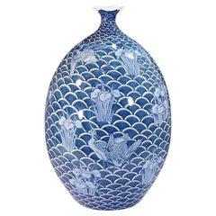 Japanese Contempory Blue Decorative Porcelain Vase by Master Artist