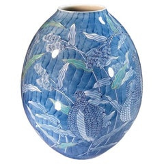 Japanese Contemporary Porcelain Vase in Blue and White by Master Artist