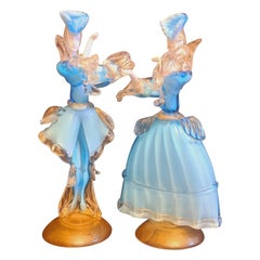 Mid-Century Murano Glass Opaline Dancers with Gold Leaf