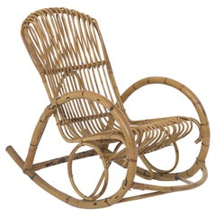 Italian Vintage Bamboo Rocking Chair 1950s