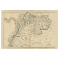 Antique Map of  Venezuela, New Granada and Ecuador by W. G. Blackie, 1859