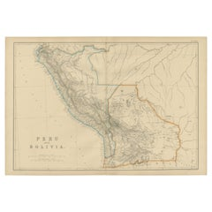 Antique Map of Peru and Bolivia by W. G. Blackie, 1859