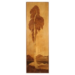 20th Century Wood French Decorative Panel Landscape with Tree, 1970