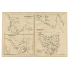 Antique Map of West, South, North Australia and Tasmania by W. G. Blackie, 1859