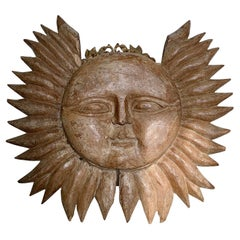 19th Century Double Sided Carved Wooden Sun
