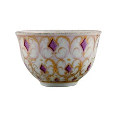 Antique Meissen Cup in Hand-Painted Porcelain with Purple and Gold