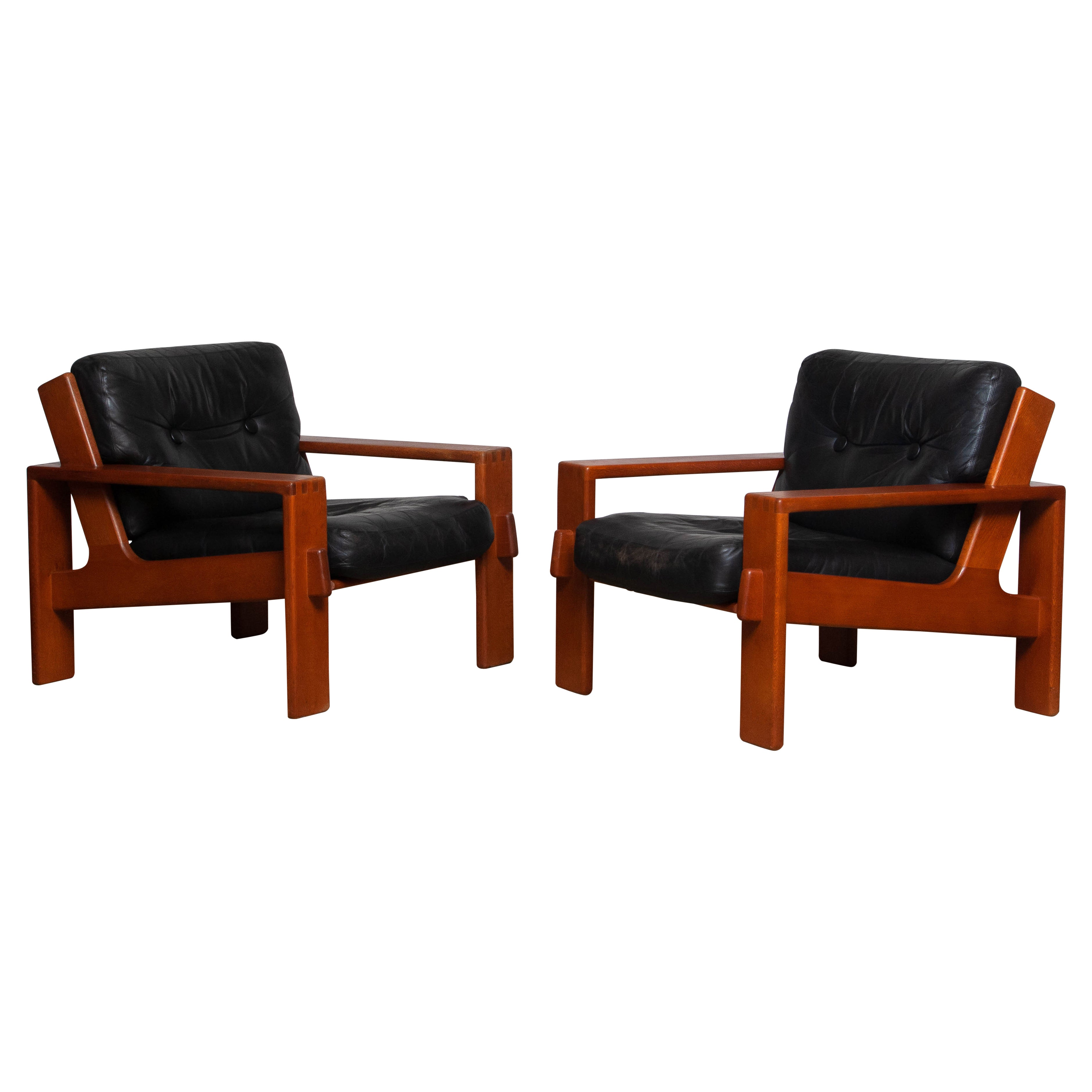 1960 Pair Teak And Black Leather Cubist Lounge Chair by Esko Pajamies for Asko.