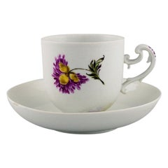 Antique Meissen Coffee Cup with Saucer in Hand-Painted Porcelain