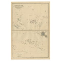 Antique Map of South Pacific Ocean by W. G. Blackie, 1859