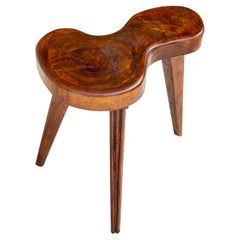 Stool Brutalist Style, Free Shape, Old Patina, Brown Color, France, 1950