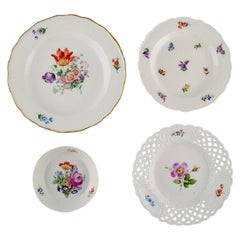 Antique Meissen Bowl and Three Porcelain Plates with Hand-Painted Flowers