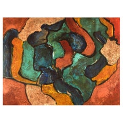 """Italian Artist, Oil on Board, """"Consacra"""", Abstract Composition, Dated 1984"""